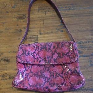 Handbags - Faux snakeskin handbag..red pink and black